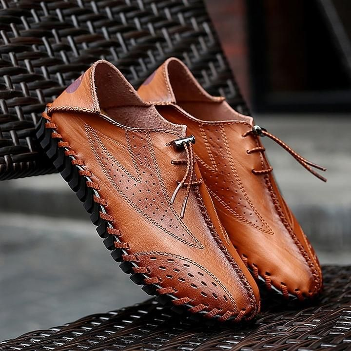 Leather Men Summer Shoes Loafers Driving Moccasin Hollow Out Sandals size 38-47