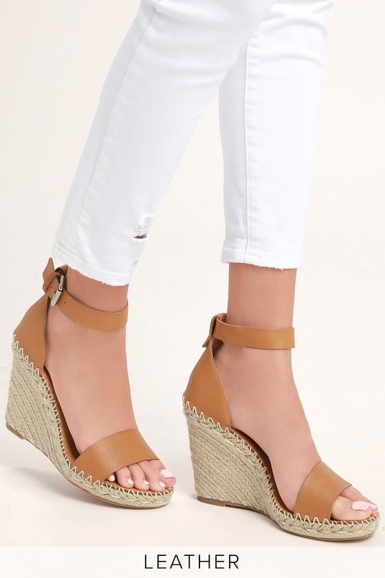 eb2f5831190 Lulus | Noor Tan Leather Espadrille Wedges | Size 10 in 2019 ...