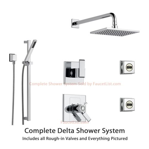 Delta Vero Chrome Shower System With Normal Shower Handle, 3 Setting  Diverter, Large Ceiling Mount Rain Showerhead, And Handheld Shower SS145383