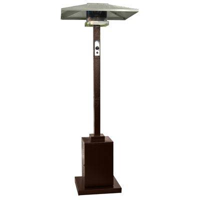 Finish:Hammered Bronze Outdoor Commercial Propane Patio Heater Easy-start electric ignition Variable heat control Electronic striker switch Thermocouple and anti-tilt safety devices 34-in aluminum square reflector shield Wheels for easy mobility Regulator included Uses a 20-lb propane tank (not included) Specifications: Ignition Type: Electric Maximum BTUs: 38,000 Fuel Tank Size: 20-lbs Max Burn Time: 20 hours