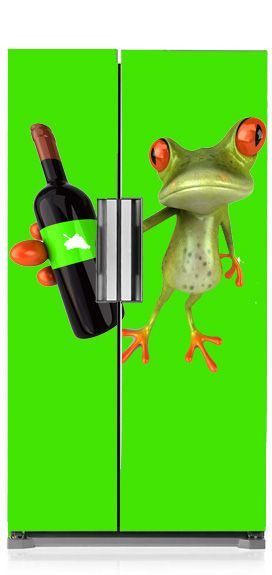 Żaba z winem na Twojej lodówce.  #frog #zaba #lodowka #fridge #design #kitchen #kuchnia #matamagnetyczna #cool