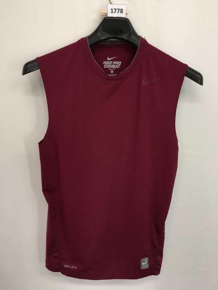MENS XL NIKE PRO COMBAT DRI-FIT COMPRESSION TANK TOP T-SHIRT MAROON TEE #Nike #ShirtsTops
