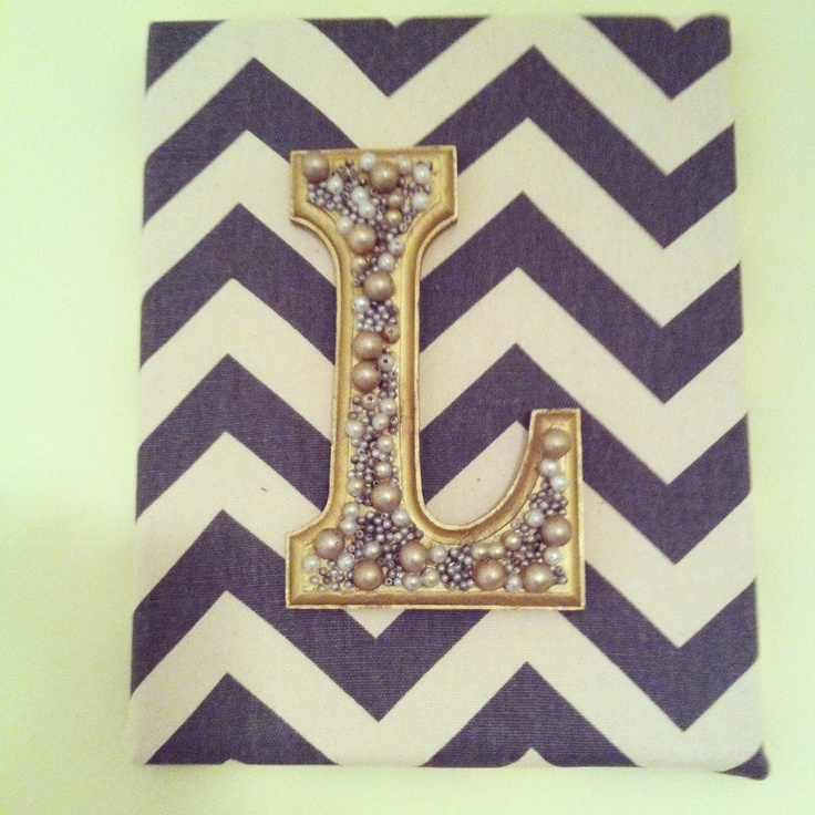 A canvas + fabric + a spray painted wood letter. and some adornments = another easy DIY art piece