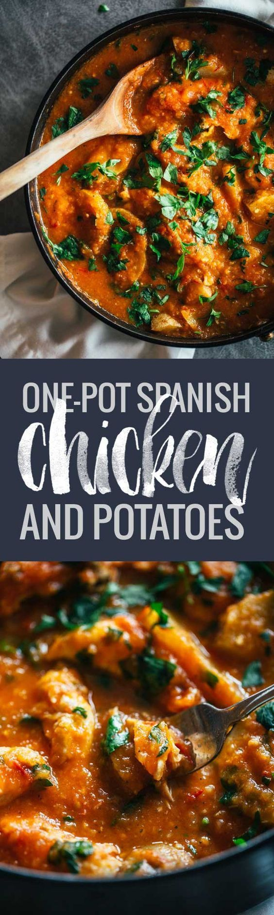 One Pot Spanish Chicken and Potatoes - a vibrant, comforting meal with simple flavors. 360 calories.