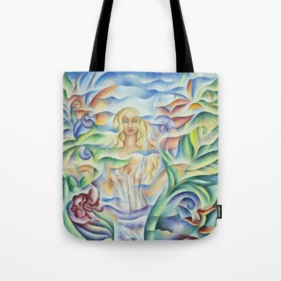 "Tote Bags. Design based on an oil painting by Monique Rebelle. Our quality crafted Tote Bags are hand sewn in America using durable, yet lightweight, poly poplin fabric. All seams and stress points are double stitched for durability. The tote bags are washable, feature original artwork on both sides and a sturdy 1"" wide cotton webbing strap for comfortably carrying over your shoulder.  #totebagpattern #bagdesign #bags  #totebagforwork #handbaggift #goddessart #magicwoman #wellbeing…"