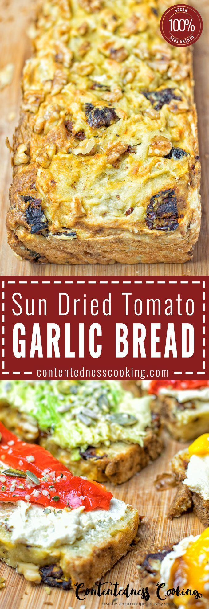 Sun Dried Tomato Garlic entirely vegan and gluten free. Only 6 ingredients, delicious for snacking, breakfast, lunch.  Also amazing with soups or salads.