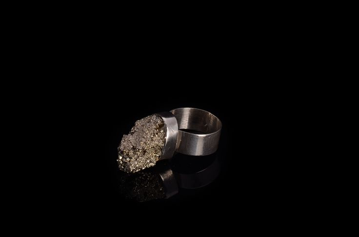Raw Pyrite sterling silver ring