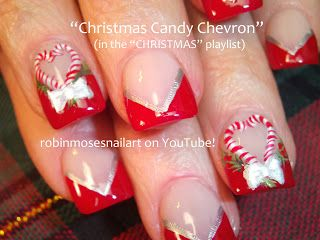 Christmas Candy Chevron by Robin Moses. Red and silver candy canes bows Christmas nail art. Tutorial: http://www.youtube.com/watch?v=ya8DDqYMIuw