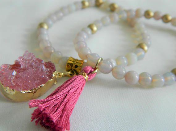 A set of two handmade stretch bracelets: Faux Druzy and tassel