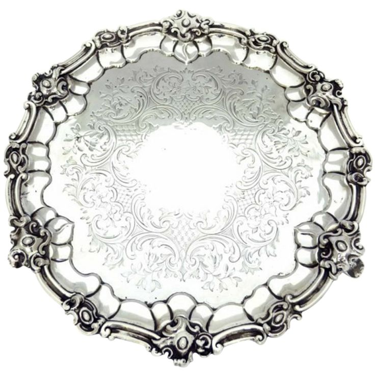 Antique Victorian Silver Salver 1854 George Angel  | From a unique collection of antique and modern platters and serveware at http://www.1stdibs.com/furniture/dining-entertaining/platters-serveware/