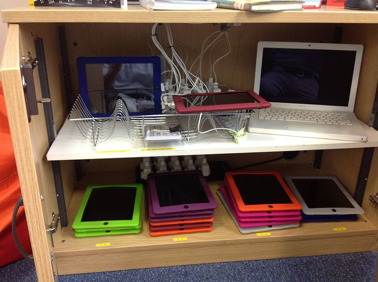iPad Storage and Charging Stations, like the different colored cases for grouping
