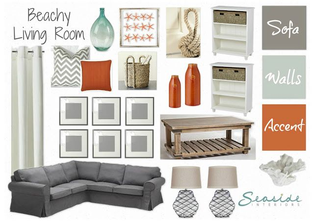 Seaside Interiors Beachy Living Room with grays and orange My room design