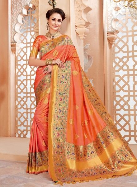 f7c46f54be Peach designer Indian wedding wear viscose saree with long blouse in 2019 |  Designer Sarees | Silk sarees, Saree wedding, Art silk sarees