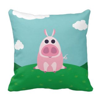 Leary the Pig Throw Pillows