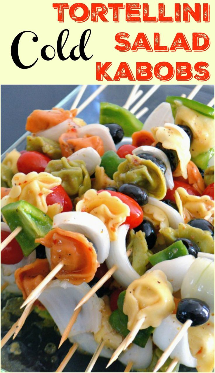 Cold Tortellini Salad Kabobs Recipe- make ahead for parties and use the leftovers in a salad. Cold Tortellini Salad Kabobs are the perfect easy appetizer!