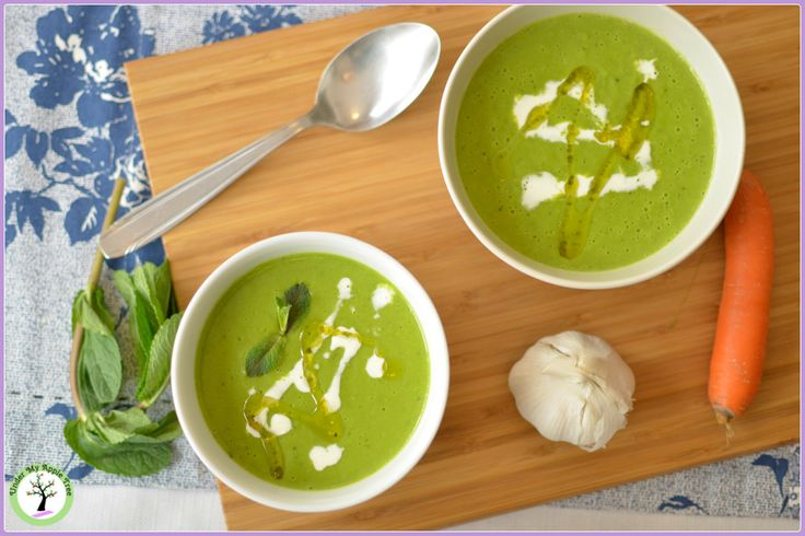 Peas and mint cream soup
