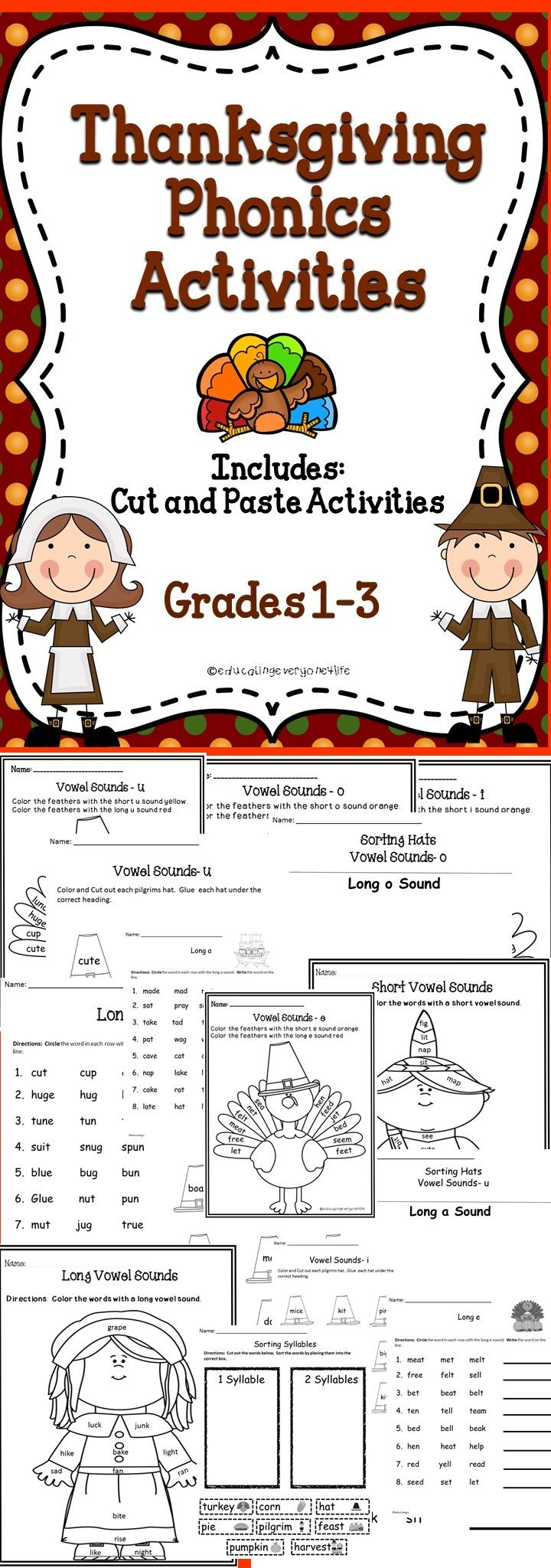 Thanksgiving Phonics Activity - Fun Thanksgiving Activities For The Classroom! #tpt #Thanksgiving #Phonics