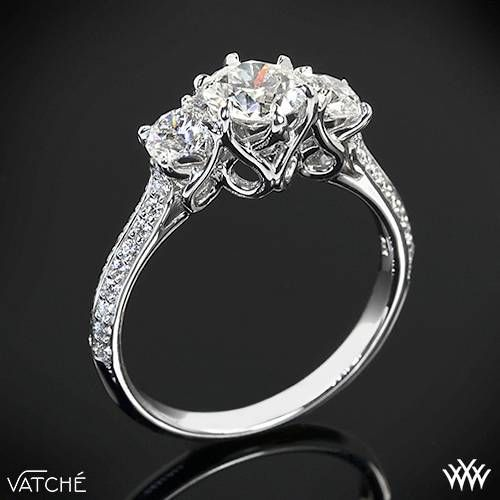 """3 Stone """"Swan"""" Diamond Engagement Ring by Vatche 