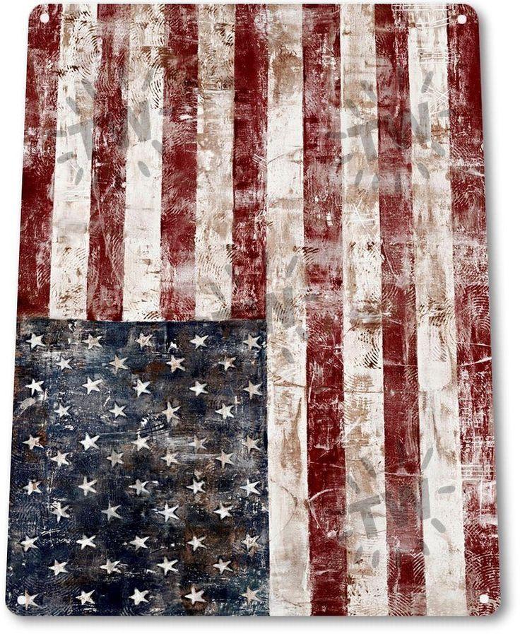 """TIN SIGN """"American Colors"""" Flag Metal Decor Patriotic Wall Art Store Shop A211"""