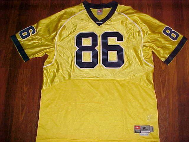 Nike NCAA Big Ten Michigan Wolverines 86 Yellow Blue Men Football Jersey XL #Nike #MichiganWolverines