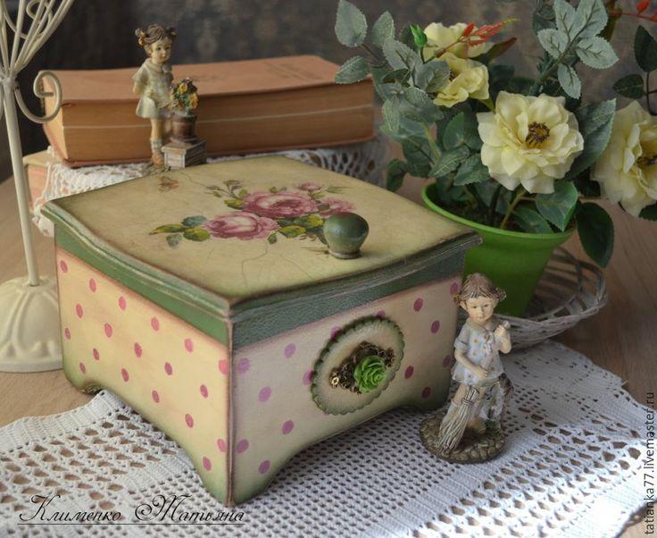 """Купить Короб для чая """"Розы и горошек"""" - фиолетовый, розовый, розы, винтажные розы, короб для кухни"""