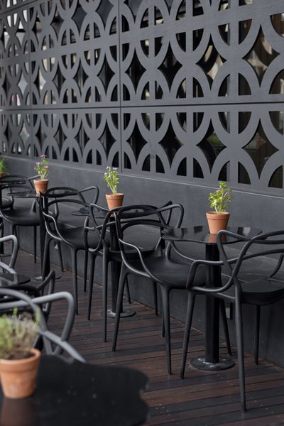Black on black: the deck at Eden Dining Room & Bar, Adelaide, by Genesin Studio