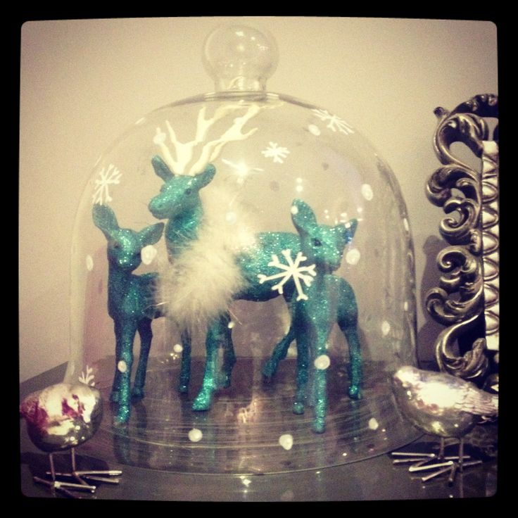 Glass cloche, chalk pen, sparkly deer Christmas is here x