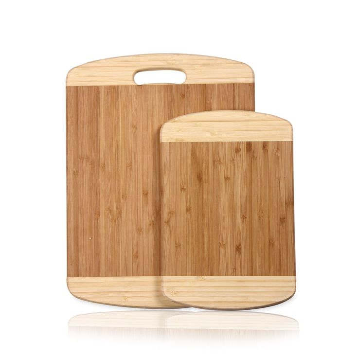 Adeco 2-piece 100-percent Bamboo 0.7-inch Thick Chopping Board Set