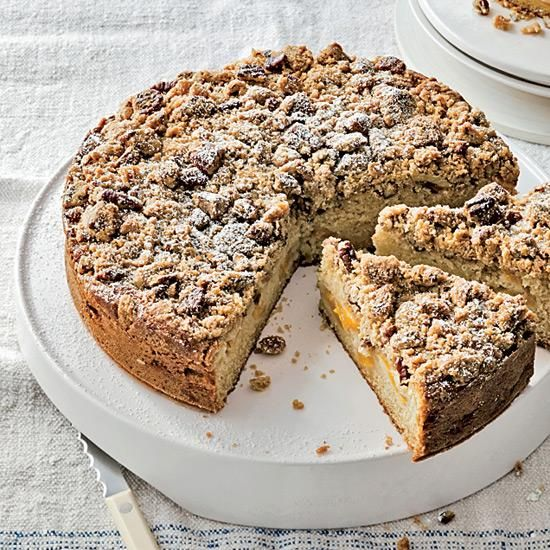Peach Streusel Cake | In the winter, Individually Quick Frozen (IQF) fruit, like the kind sold by Cascadian Farm, is often a superior alternative to fresh fruit shipped to the US. IQF peaches are terrific in this winning coffee cake recipe.