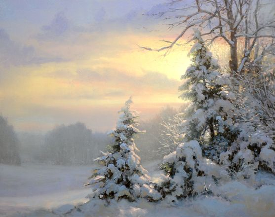 Winter sunset scene - Artist Michael Godfrey Paintings, Prints, Artwork for Sale, Biography New Masters Gallery