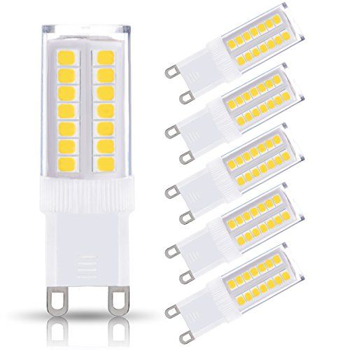 JandCase G9 LED Light Bulbs, 5W, 40W Halogen Equivalent, 400LM, Soft White 3000K, G9 Base, G9 Bulbs for Chandelier, Range Hood, 5 Pack - Specifications: Condition: Brand new Package include: 5 pieces of 5W G9 LED Bulb, Not Dimmable Color: Soft White (3000K) Brightness: 400LM Material: Ceramic and Plastics Input Voltage: 110V-130V Beam Angle: 360 degrees Lifespan: 30000 hours Features: Give off a cozy golden illumination without gl...