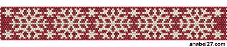 Мозаичное плетение - зимние узоры (снежинки) | - Схемы для бисероплетения / Free bead patterns -