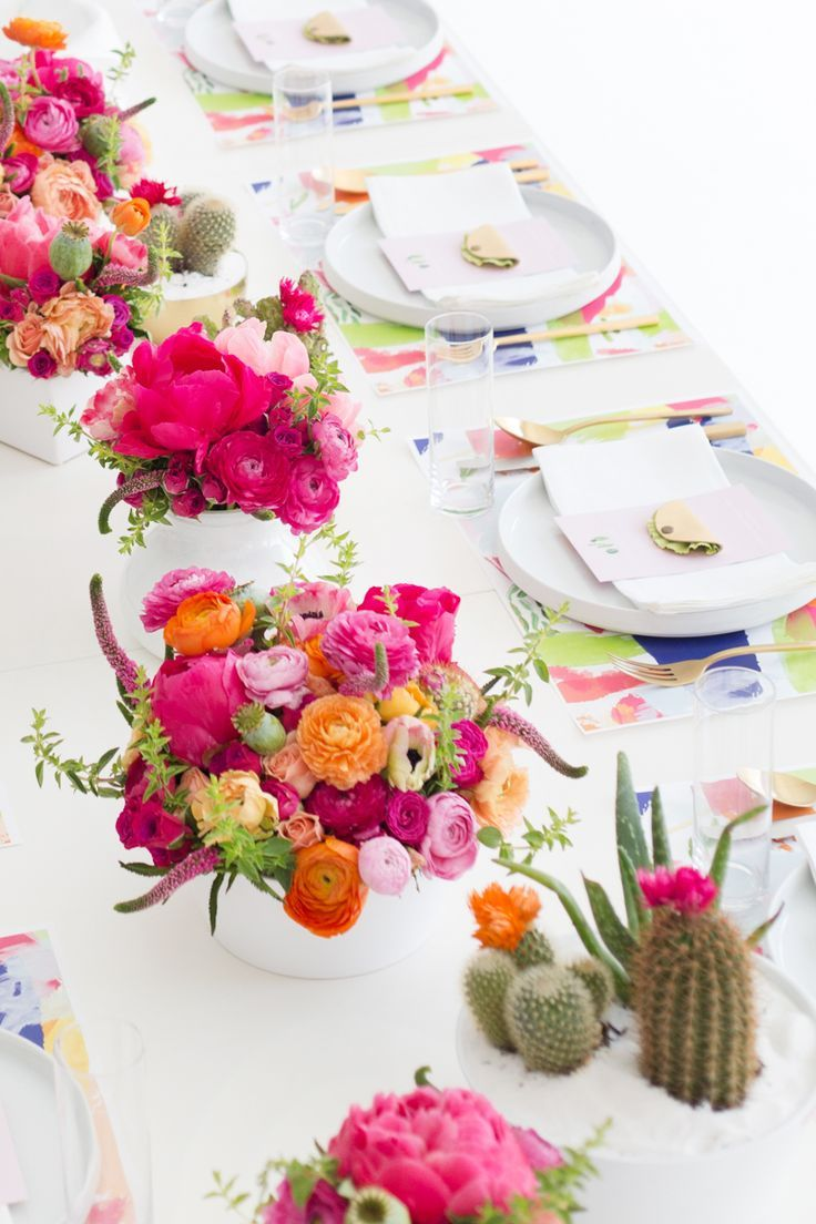 A Cactus Inspired Brunch with bright flowers.