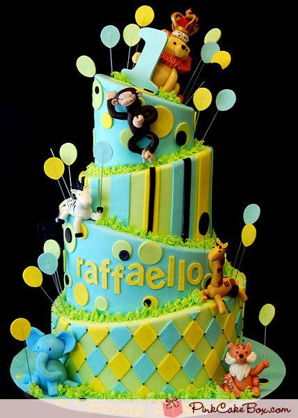 Jungle Kids CakeKids Birthday, Baby Cake, Jungles Kids, Jungles Cake, Jungles Safari, Kids Cake, Birthday Cake, Cake Toppers, Pink Cake