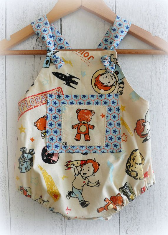 Baby+Boy+Romper++Teddy+and+space+theme+by+LittleMacsClothing,+$35.00
