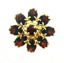винтажные ювелирные изделия 14K желтое золото гранат кластера цветок коктейльное кольцо размера 6,75