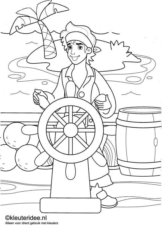 kleurplaat piraten 4, kleuteridee.nl , op de site nog veel meer piratenkleurplaten, pirates coloring free printable.