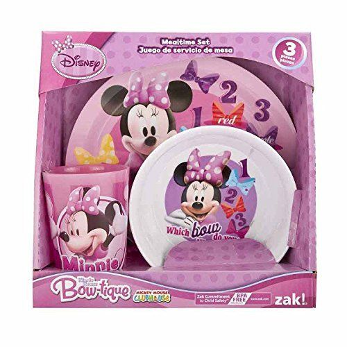 Designs Dinnerware Set with Plate Bowl and Cup and Disney\u0027s Minnie Mouse  sc 1 st  Pinterest & 96 best Plates cups silverware for Zoey Scarlett and Victor Jr ...