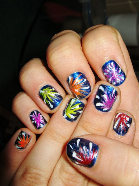 25 unique firework nail art ideas on pinterest firework nails firework nail art for the of july prinsesfo Image collections