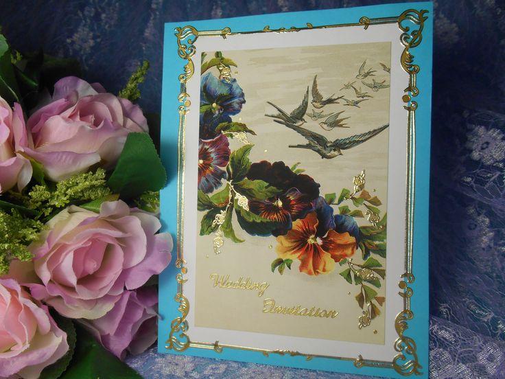 Винтажные приглашения для свадьбы с декором в бирюзовом цвете выполнены на основе копии старинной открытки.Цена: 72 руб. за штуку. #свадьба #приглашение #ручнаяработа #винтажный #ддекор #бирюзовый #soprunstudio