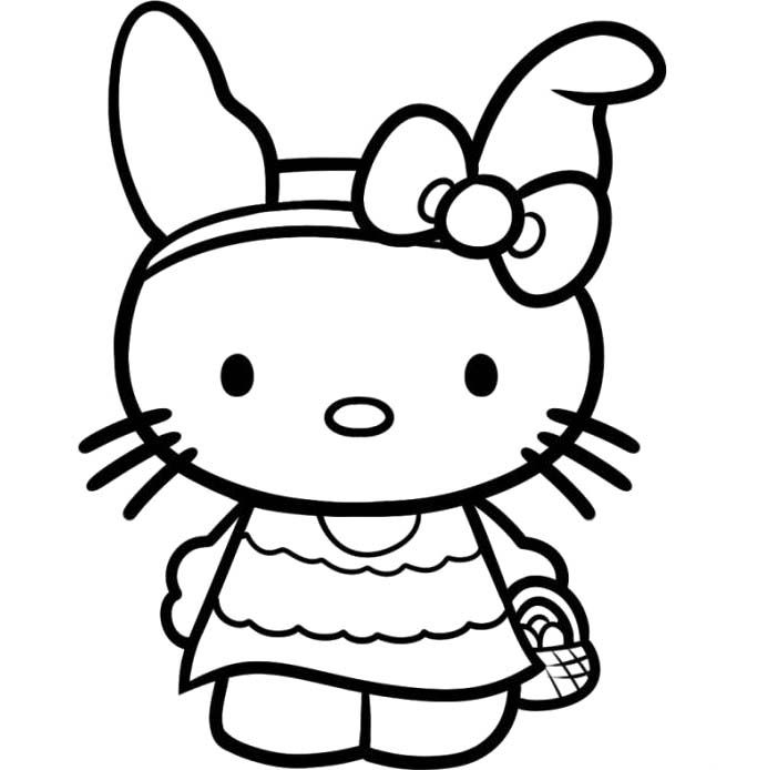 hello kitty wants to market coloring page