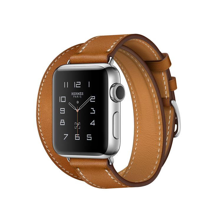 Apple Watch Hermès, 38mm Stainless Steel Case with Fauve Barenia Double Tour Leather Band - Apple