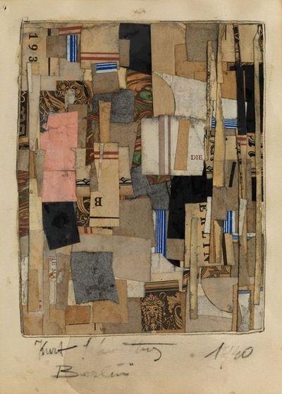 blastedheath:    Kurt Schwitters (German, 1887-1948), Berlin, 1940. Paper collage on board, collage: 23 x 18 cm.; board: 30 x 20 cm.