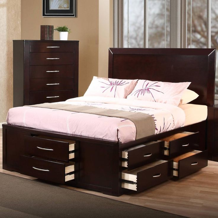 furniture dark brown wooden bed frame with drawers and white bedding set on brown wooden