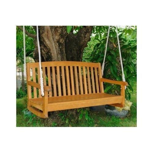 Wooden SwingSets Hardwood Hanging Porch Swing Natural Wood Patio Yard Furniture #InternationalCaravan