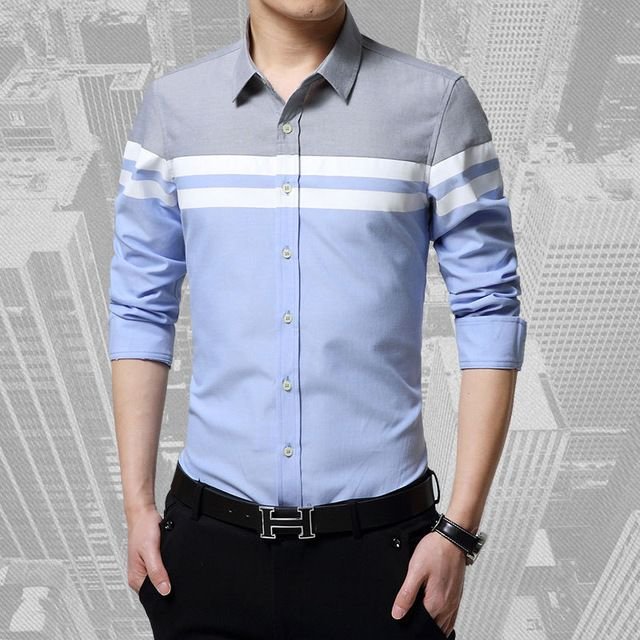 Fair price 2016 Fashion Mens Shirts Brand Clothing Slim Fit Patchwork Stripe Clothes Male Long Sleeve Shirt for Men Camiseta Male just only $12.95 with free shipping worldwide  #shirtsformen Plese click on picture to see our special price for you