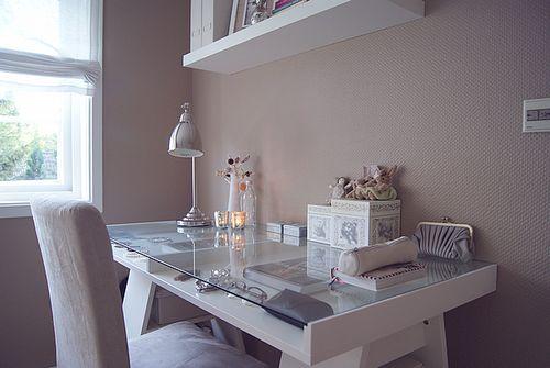 IKEA SPOTTED // VIKA BRUVAN table top in glass/white, trestles holding up desktop in white (no longer listed on US site), BAROMETER nickel-p...