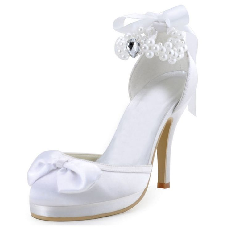 47.06$  Watch now - http://alii8v.shopchina.info/go.php?t=32799551765 - Talones Altos Women's Wedding Super High Heels Round Toe Party Pearl String Satin Bridal Bridalsmaid's Shoes Pumps 521-3 ZHL  #aliexpressideas