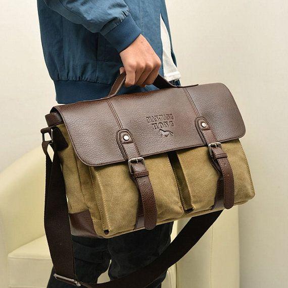 Men's Vintage Leather Canvas bag Messenger Shoulder by NakulaSad