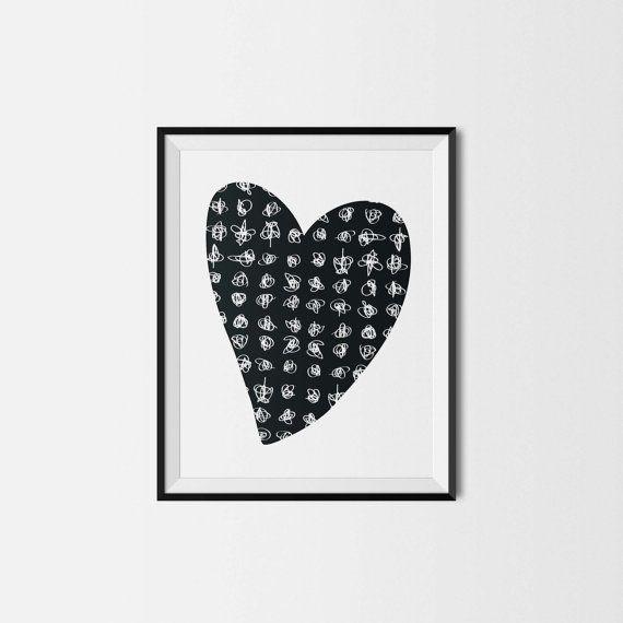 Illustration - Pour impression immédiate - Coeur - 8x10 - Chambre de bébé - Chambre d'enfant - Amour - Nursery wall decor - Instant download